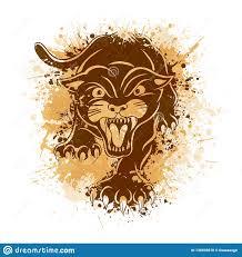 сердитая черная пантера атакуя представление иллюстрация татуировки