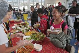 middle school lunch table. Fine Table A Student Gets Food From The Garden Table At Lunch In Venice Inside Middle School Lunch Table N