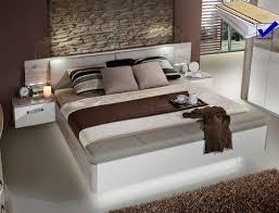 Doppelbett Rubio 1 Sandeiche Weiß 180x200 Bett Led Nako Rost