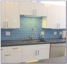 blue glass backsplash tile