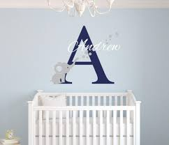 buy custom name elephant wall stickers for kids room personalized boys name bedroom nursery wall art pic baby vinyl wall decals j671 at hespirides gifts for  on vinyl wall art boy nursery with buy custom name elephant wall stickers for kids room personalized