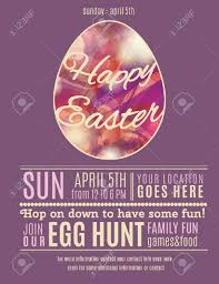 Purple Easter Egg Hunt Flyer Or Poster Template With Abstract