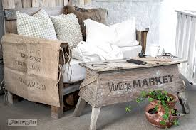 funky wood furniture. Pallet Wood Sawhorse Coffee Table With A Sofa On Patio / Funky Junk\u0027s Furniture
