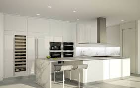 white fridge in kitchen. modern kitchen with white cabinets, rectangular island breakfast bar and wine fridge in n