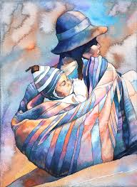 12x18 fine art print of original watercolor painting of traditionally dressed quechua woman and child on the plaza de armas in cusco peru