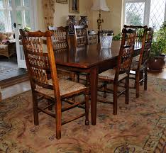 Oak Chairs For Kitchen Table Oak Kitchen Dining Set Refectory Table Spindleback Chairs Set Ebay