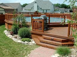 patio deck decorating ideas. Pool Deck In Wooden Fence Patio Decorating Ideas