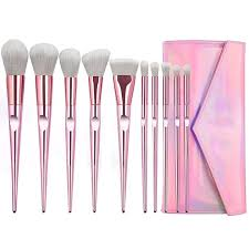 DIOLAN <b>10pcs Luxury Pink Makeup</b> Brushes Set <b>Beauty Make Up</b> ...
