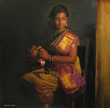 realistic tamilnadu painting by ilayaraja realistic tamil woman painting