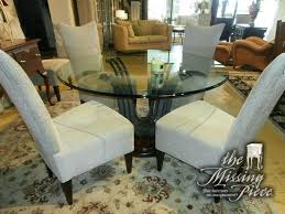 54 round dining table set round glass top dining table on wood and metal pedestal with