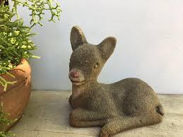 vintage concrete fawn garden statue