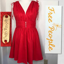 Free People Red Cotton Linen Dress Size Med Nwt Nwt