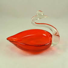 murano orange art glass swan candy dish bowl or candle holder venician blown