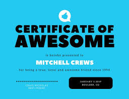 Certificate Of Awesomeness Template Bright Blue Minimalist Friendship Certificate Templates By Canva