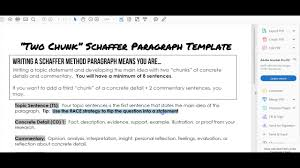 Video 1 Introduction To Our Writing Plan And The Schaffer Two Chunk Body Paragraph Method