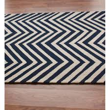 nuloom hand hooked chevron area rug in navy blue