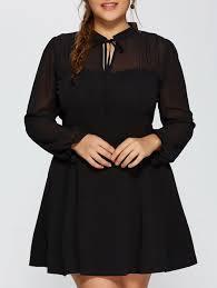 2017 Plus Size Mesh Yarn Insert Long Sleeve Formal Skater Dress