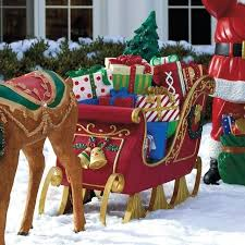 outdoor sleigh fiber optic sleigh outdoor decorations large outdoor reindeer and sleigh decorations