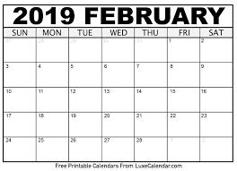 february printable calendar 2019 february 2019 calendar printable luxe calendar