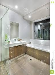 Modernes Badezimmer Mit Dunkle Farbbodenfliesen Mit Lichtern An