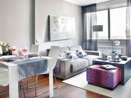 small apartment dining room ideas. Rectangle White Lacquer Finish Wooden Coffee Table Small Apartment Dining Room Ideas Grey L Shape Fabric Sofa Added Cute Dark Leather Stools T