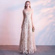 New Champagne Long <b>Banquet Evening Dress 2019</b> Fashion ...