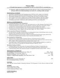 Environmental Science Entry Level Resume Samples Templates