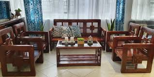 solid wooden sofa set sala with single