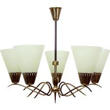 5 arm chandelier in glass and brass 1950s