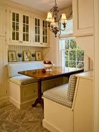 built in kitchen banquette in cottage kitchen