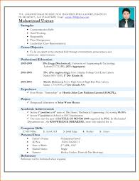 Resume format Mechanical Engineering Freshers