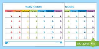 Handprints Themed Weekly Timetable Handprints Timetable Week