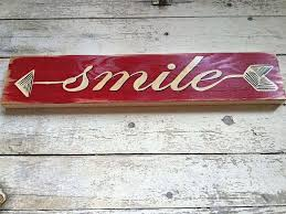 Word Signs Wall Decor Smile Arrow Wall Art Decor Hand Painted Wood Word Sign for Home 77