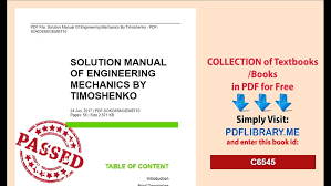 Engineering Mechanics Timoshenko Solutions
