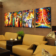 hand painted home decor wall art thick acrylic palette knife rainy
