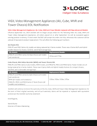 VIGIL Video Management Appliances (4U, Cube, MVR and Tower Chassis) EOL  Notification