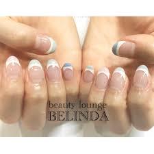 ハンドシンプルホワイトピンク水色 Belindanailのネイルデザイン