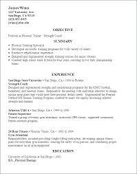 Resume Of Trainer Sample Personal Resume Personal Trainer Resume Example Example