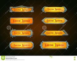 Shiny Horizontal Orange Game Templates Stock Vector