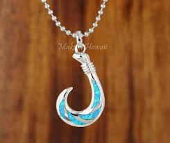 sterling silver opal fish hook pendant small size