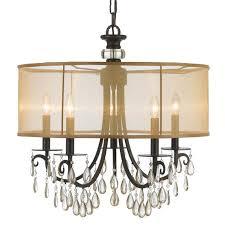 crystorama hampton 5 light drum shade bronze chandelier