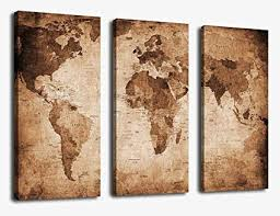 canvas wall art vintage world map painting ready to hang 3 pieces large framed old on vintage wall art canvas with amazon canvas wall art vintage world map painting ready to hang