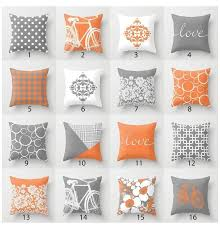 orange grey white throw pillow mix and
