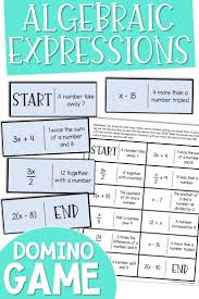 Algebraic Expressions Domino Game Algebraic Expressions
