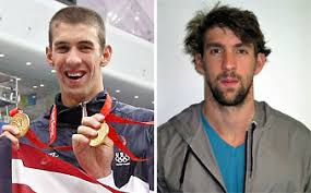 michael phelps at the beijing olympics in 2008 left and in his official 2012 olympic head shot teammates have said he is more relaxed this year