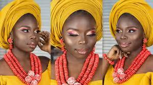 summer sunset orange eyeshadow nigerian bridal makeup tutorial