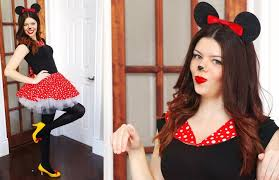 minnie or mickey costume mouse ears black top red polka dot skirt