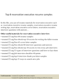 top8reservationexecutiveresumesamples 150517032421 lva1 app6891 thumbnail 4 jpg cb 1431833103