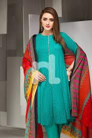 New Design Pakistani Dresses 2017 Unstitched 3 Piece Aqua Color Khaddar Pakistani Dress On