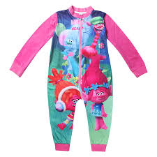 plus size footed pajamas kids feety pajamas trolls baby girls blanket sleepers sets cotton